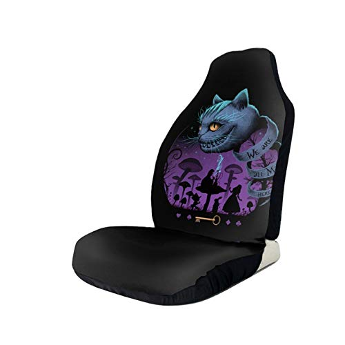 Alice in Wonderland Cheshire Cat Car Seat Cover Overall Surrounded Universal Fit Car Seat Coveranti-Skid and Waterproof 2 Pcs