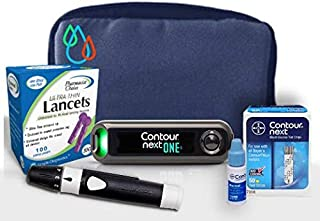 Raindrop USA - Contour Next ONE Complete Diabetes Blood Glucose Testing Kit: Meter, Test Strips, Lancets, Lancing Device, Control Solution, Carry Case (50 Test Strips, 110 Lancets)