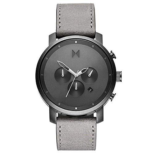 MVMT Reloj para Hombre de Cuarzo con Correa en Cuero-Piel de Becerro D-MC01-BBLGR
