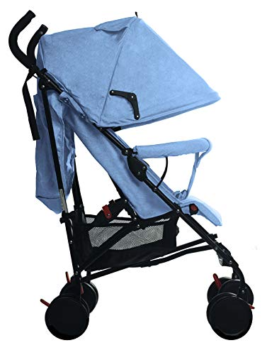 Buggy Stroller Travel Buggy Summer Blue Lightweight Pushchair for Kids Little Bambino ✨Extendable upf 50+ sun canopy and built-in sun visor ✨EASY USAGE - One-hand foldable buggy makes taking your baby for travels or walks a simple pleasure. It could stand on its own so you could take care of your baby with less things to worry about. ✨ADJUSTABLE BACKREST - Travel stroller backrest can be adjusted in sitting or reclining mode, also the footrest could be adjusted for baby need. Suitable for children from 0 to 36 months 7