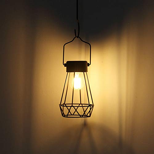 Camping Lampe Vintage Outdoor Solarlampe Eisen Netz Filament Tisch Garten Geometrische Leuchte ohne Rost Hängen Hoflaterne Deko Camping