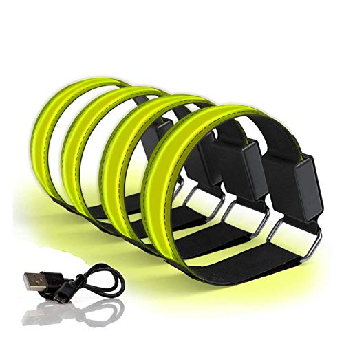 4 Stück Aufladbares LED Armband,Bainuojia USB Reflective LED leucht Armbänder Lichtband Kinder Nacht Sicherheits Licht für Laufen Joggen Hundewandern Running Outdoor Sports,Bunt