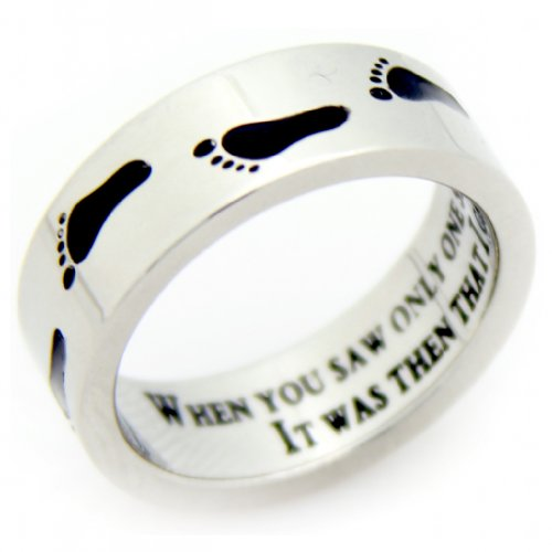 Footprints In The Sand Ring - Footprints Prayer Ring - Inspirational Jewelry - 12 Step Gifts (10)