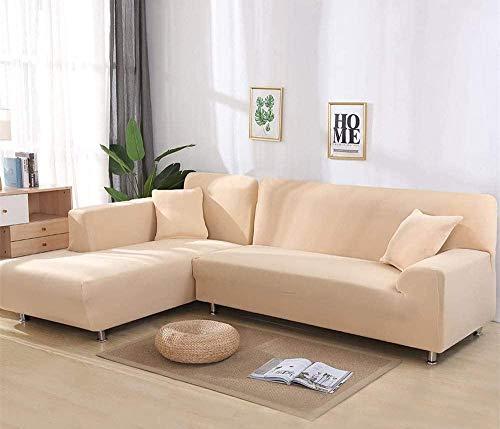 TOPCHANCES - Fundas seccionales elásticas para sofá, tela de poliéster suave, antideslizante, L, funda para sofá de 2 piezas, funda protectora de sofá seccional, L seccional 3+4 asientos, color crema