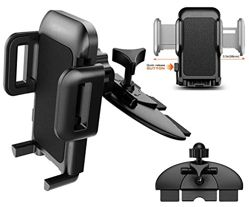 Pokanic Car Cell Phone CD Slot Mount Adjustable 360 Rotation Stand Holder Three-Side Grips Design One Touch Clamp Compatible with iPhone Galaxy Note Pixel Universal (CD Slot Mount)