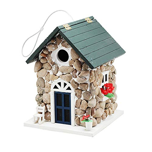 Bird's nest Outdoor Hanging Decoration Outdoor Wood Birdhouse With Welcome Card English Courtyard Garden Cottages Bird House For Small Bird Wooden birdhouse (Color : Green, Size : Free size)