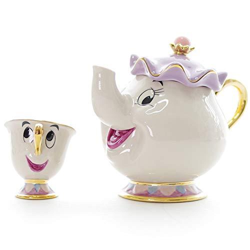 N / A Taza de cerámica portátil, Tetera de la Bella y la Bestia, Tetera y Taza chapadas en Oro, Juego de Tazas de cerámica, Tetera versión Americana