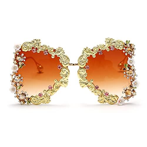 Gafas de Sol Punk de Gran tamaño Mujeres de Lujo de la Flor de la Moda de Las Gafas de Sol de Las Gafas de Sol de la Perla barroca de los Hombres UV400 (Color : 2, Size : G)