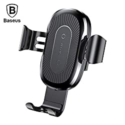 Baseus Xaxell Wireless Gravity Car Mount Fast Charging Holder Stand Cradle Bracket for Qi Mobile Phones (Black),Baseus