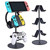 Controller Stand 3 Tier,Headphone Holder,KELJUN Multi Adjustable Game Controller Headset Hanger for All Universal Gaming PC Accessories, Xbox PS4 PS5 Nintendo Switch(Smart Black)