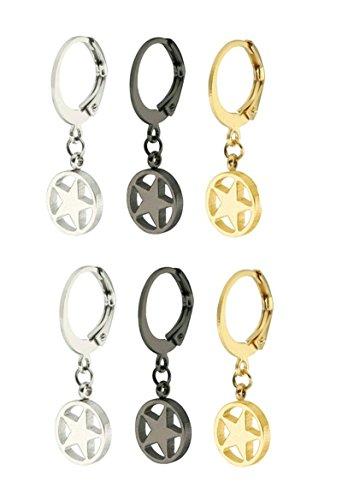 aooaz Pendientes de acero inoxidable para mujer Alergia libre Creole Estrella Pendientes de oro plata negro 10mm de diámetro, 3pares