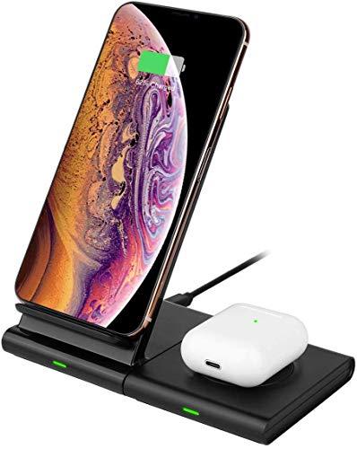 Hoidokly 2 en 1 Chargeur Sans Fil Chargeur à Induction Rapide pour Samsung Galaxy Watch/Active/Gear/Buds, S10/S10e/S10+/S9/S9 Plus/S8/S7 Edge, Note 10+/9, iPhone 11/11 Pro/11 Pro Max/XS/XR/X/AirPods 2