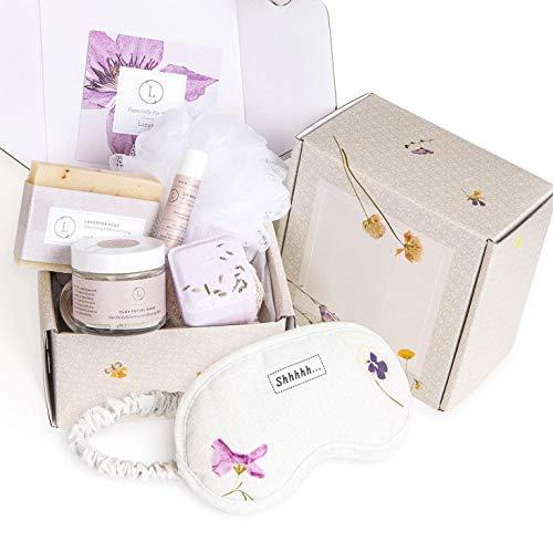 Bath Gift Set, Natural Relaxing Spa Gift for Her, Basket Including 6 pc - Lavender Soap Bar, Bath Bomb, Facial Mask, Lip Balm, Shower Steamer, Luffa Sponge, Best Gift for Mom, Sister, Friend by Lizush