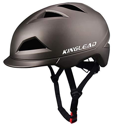 KINGLEAD Fahrradhelm mit wiederaufladbarem LED-Licht, Unisex Geschützter Fahrradhelm Radfahren Rennen Skateboarden Outdoor-Sicherheit Superleicht Verstellbarer Fahrradhelm CE-Zertifikat (Titan)