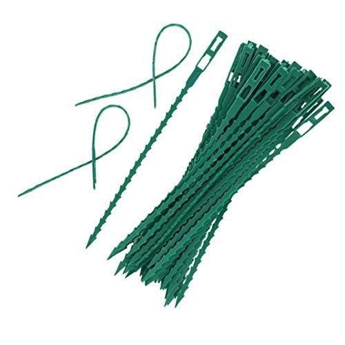 linjunddd 50pcs Ajustable Jardín Planta Torsión Lazos de plástico Flexible Torsión Bridas Cierres para jardín de Plantas Sujetador Trinca Verde para el hogar