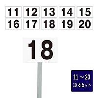 番号札 屋外 11~20セット H165×W250mm アルミ角柱付き アルミ複合板 駐車場 scn-101-20