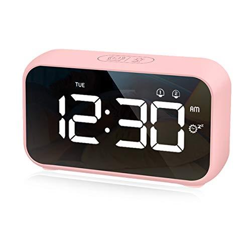 CHEREEKI Digitaler Wecker, LED Digitaluhr mit Nickerchen Timer & Sprachsteuerung Funktion Snooze Zeit Tischuhr mit 2 Alarmen USB Wiederaufladbar 3 Helligkeit & 8 Lautstärke Regelbar, 12/24 Stunden