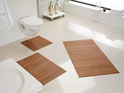 DE-COmmerce Hygienische, nachhaltige und rutschfeste Badematte aus Bambus im 3-er Set, Farbe: Nature I Fussmatte Badteppich Bambusmatte Duschmatte Badezimmermatte Bamboo Badematte Badvorleger