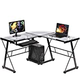 Reversible L-Shaped Computer Corner Desk, Modern Toughened Glass L Shaped Round Corner Desk with Keyboard Tray & CPU Stand, PC Laptop Writing Gamer Workstation for Home Office Small Spaces (Clear)