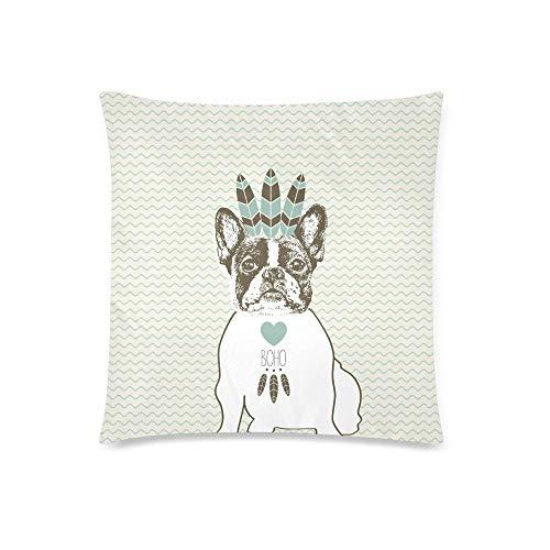 WXM Funda de cojín con diseño de bulldog francés en estilo bohemio, con plumas indias de 45,7 x 45,7 cm, funda de almohada con cremallera para decoración de sofá de dormitorio