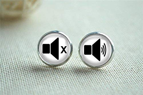 Deaf Ohrringe, I'm Deaf Ohrstecker, Lautstärke-Symbol, Sound-Lautsprecher, Lautstärkeregler, Geschenk