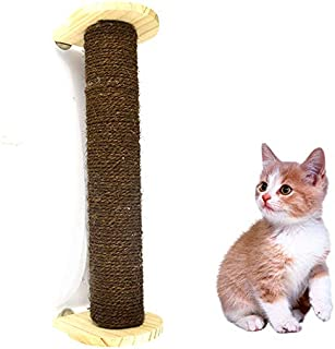 MIGHTYDUTY Cat Scratching Post Natural Wooden Cats Grinding Claw Sisal Pole Wall,Cage and Flat Mounted, Cat Climbing Frame Cat Scratching Claws Funny Cat Toy