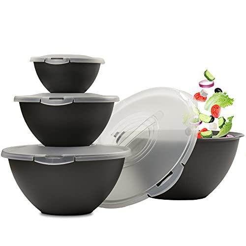 Hausfelder Salatschüssel Set groß mit Deckel | Schüsselset 0,7-6 L in Anthrazit Schwarz | Schüsseln aus Kunststoff BPA-frei