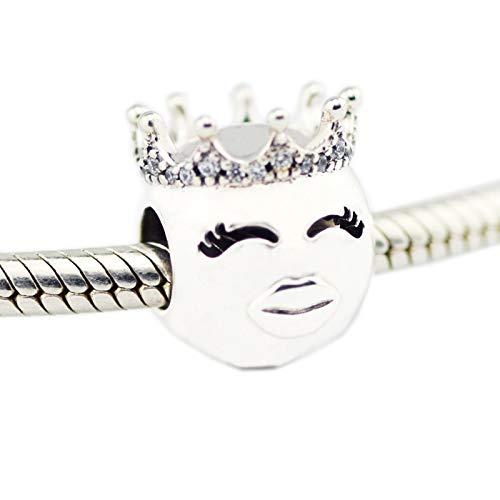 LILANG Pandora 925 Pulsera de joyería Cuentas Naturales para Cuentas de Princesa de Plata esterlina Clear Cz Charms Silver Berloque Perles Mujeres Regalo DIY