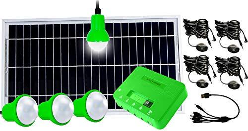 Mobile Solaranlage Plug & Play Solarpanel Akku Energiestation 4X lichtstarke LED Leuchte USB Ausgang Laderegler alle Kabel 8 Watt kompakt, tragbar, extrem energieeffizient