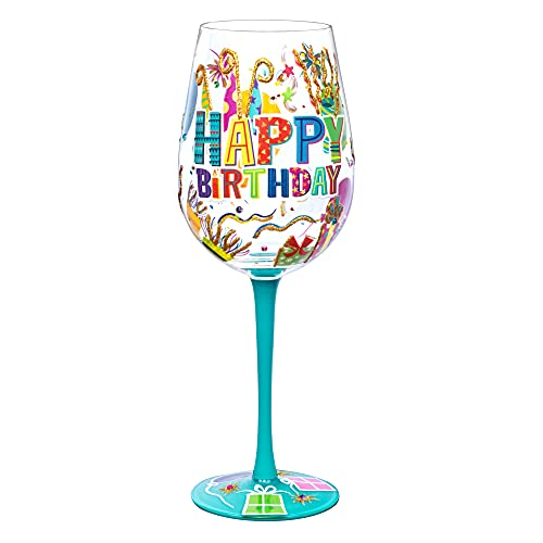 NymphFable Copa de Vino Pintada a Mano Feliz Cumpleaños Copa de Vino Tinto 15oz Regalo para Familia o Amigo