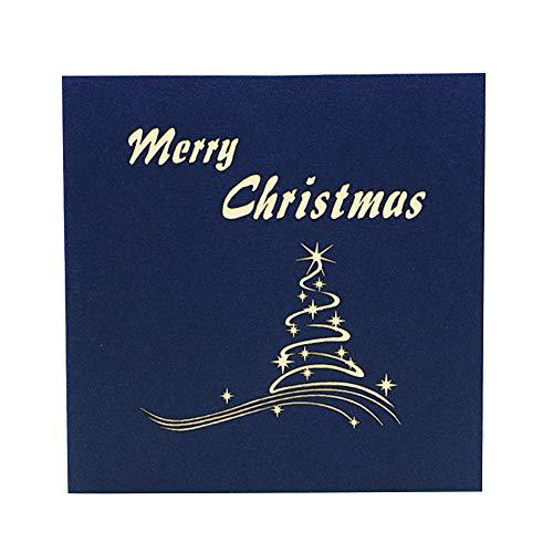 Dyyicun12 Weihnachtskarten, handgefertigt, 3D-Stand-Up-Weihnachtsbaum-Grußkarte, Papier, Blau