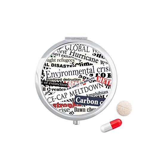 DIYthinker Magazine Aders Patroon Achtergrond Reizen Pocket Pill Case Medicine Drug Opbergdoos Dispenser Spiegel Gift
