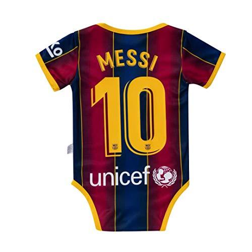 Barcelona Home #10 messi Bodysuit Soccer Baby Comfort Jumpsuit for 0-9 Months Infant and Toddler 2020-2021 Season
