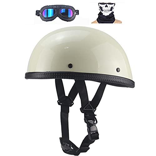 Casco Retro Medio Casco Beanie Hombres y Mujeres para Wheeling Motocicleta Casco Chopper Clásico Con gafas y protector facial para Cruiser Modelo Alemán Aprobado por ECE,Blanco,XXL 63cm