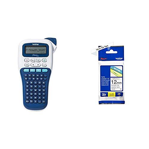 Brother PT-H107B Etichettatrice Portatile per Casa e Ufficio, fino a 12 mm, Velocità di Stampa fino a 20 mm/sec + Nastro Laminato, Nero/Bianco, TZE231