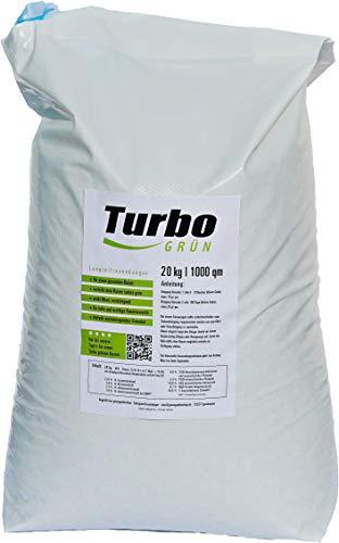 Turbogrün Rasendünger 20kg mit 3 Monate Langzeit-Wirkung, Dünger gegen Moos, Ideal für Frühling und Sommer, geeignet für Streuwagen, staubarmes Granulat, Rasen Dünger