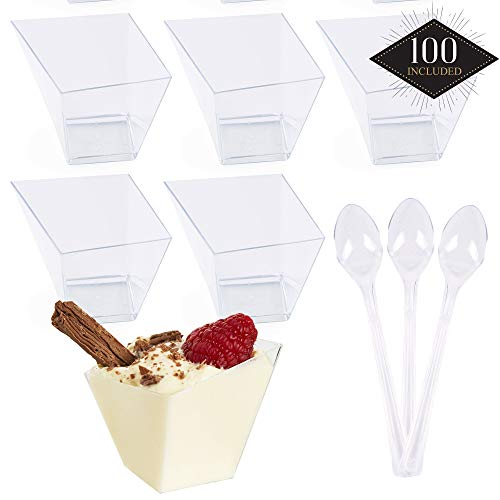 Matana - 100 Stück Dessertschalen mit Löffeln - Plastik, 70 ml
