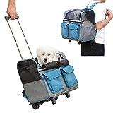 Maxmer Trasportino per Animali Domestici, Carrello Confortevole per Cani e Gatti, Trolley Zaino Pieghevole per Viaggio in Treno e Aereo