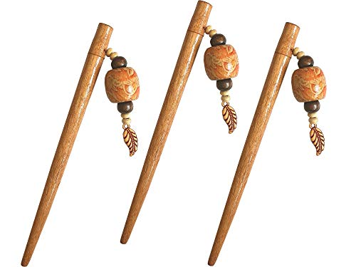 SK Craft Handcrafted Multicolour Wooden Beads Hair Juda Stick for Women - Set of 3, Juda Stick, Juda Pin, Hair Pin, Hair Clip, Bun Stick