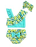 Esobrerie Baby Girl Swimsuit Fruit Pattern Print Ruffle Bikini Tankini Swimwear Suit with Headband Two-Piece Bathing Suit 3-6 Months Blue