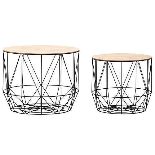 FineBuy Design Beistelltisch mit Körben 2er Set | Moderne Korbtische mit abnehmbaren Tablett | Satztisch 2-teilig mit Stauraum