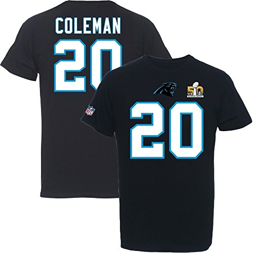 Majestic Athletic Carolina Panthers Coleman Super Bowl - Camiseta (talla M), color negro