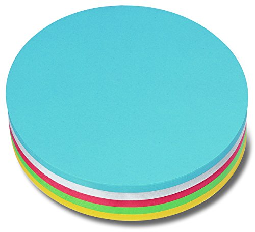 Nobo 1901311 Moderationskarte Kreis, 19.5 cm, sortiert, 250 Stück, weiß/gelb/rot/grün/blau
