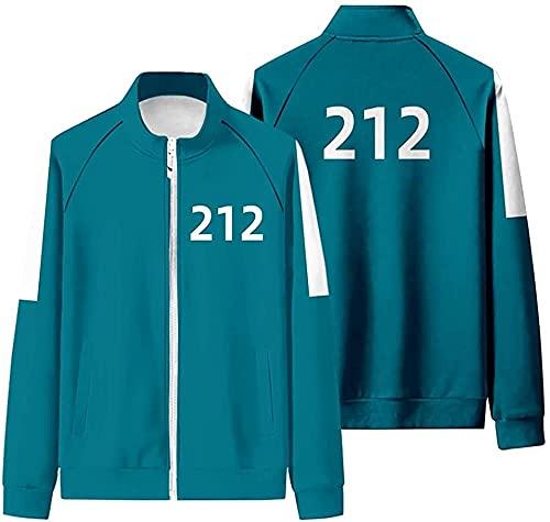 Squid Game Cosplay Merch - Sudadera con capucha para hombre (001 456 218, con logotipo Zip Up, manga larga, sudadera para exterior, moda, ocio, unisex, Halloween, disfraz, azul 3, medium