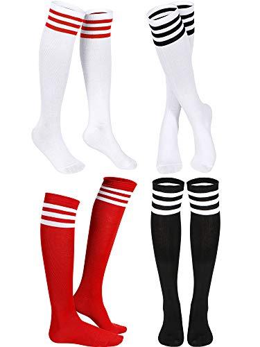 Triple Stripes Knee Socks Unisex Cotton Three Stripe High Tube Socks (White in Red/Black Stripe, Red in White Stripe, Black in White Stripe, 4)