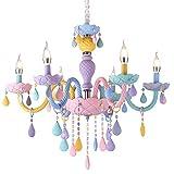 WTTWW Moderne Enfants Chambre Lustres Chambre Enfants Pépinière Princesse Suspension Lampe Intérieur Maison Macaron Couleur Filles Chambre Lustre,6light