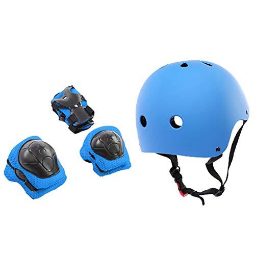 TOYHEART 7 Piezas Casco De Bicicleta 50-54 CM, Equipo De Protección para Niños, Casco Ajustable, Rodilleras, Coderas, Muñequeras Azul