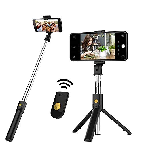DIYNP Palo Selfie Trípode, Palo Selfie Stick Bluetooth con Control Remoto, Extensible 3 en 1 Monópode para iPhone XS MAX XR 8 8 Plus 6 6s 7 7plus Android Huawei Samsung Galaxy (Negro)