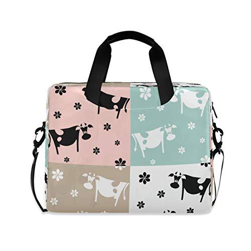Animal Milk Cow Flowers Cartoon Cute Laptop Bag Protective Case Computer Messenger Briefcase Women Men 16' 15.6' 14'