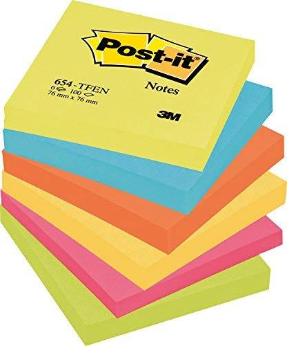 Post-it Super Sticky Foglietti, 100 Fogli, Confezione da 6 Blocchetti, 76 x 76 mm, Multicolore (Blu/Fucsia/Giallo/Verde Neon)